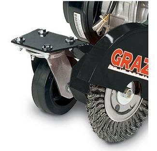 image: Billy Goat Grazor closeup of front pivot caster wheel