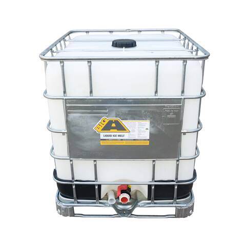 image: 275 gallon tote of the big a pellet ice melt concentrate