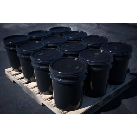 Pallet showing twelve buckets of 5 gallon BIGA asphalt sealer