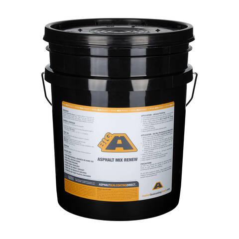 Overview showing a 5 gallon bucket of the BIG A Asphalt Mix Renew asphalt rejuvenator