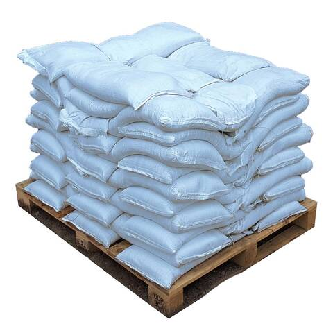 image of a pallet with bags of halite snow and ice melt