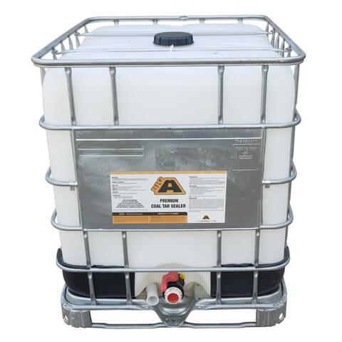 Overview image of a 275 gallon IBC tote of BIGA Premium Coal Tar Sealer