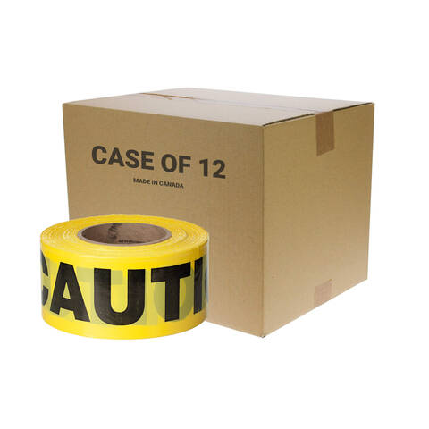 Case view of the Quest 3 inch 1000 ft caution tape