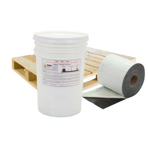 Overview of a bucket and roll of 8 inch QuikSeam representing a full pallet