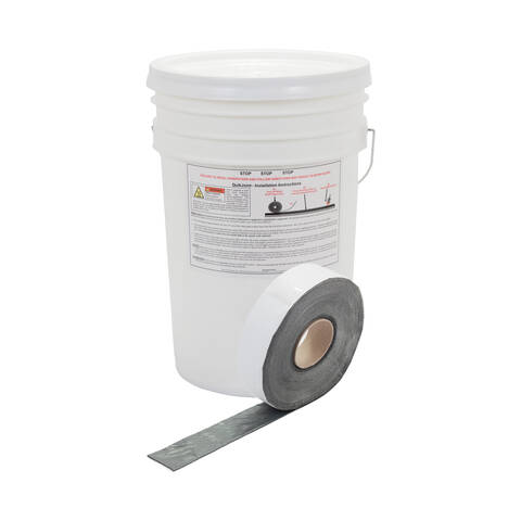 "image: Roll of 2"" QuikJoint Asphalt Crack Tape in front of bucket"
