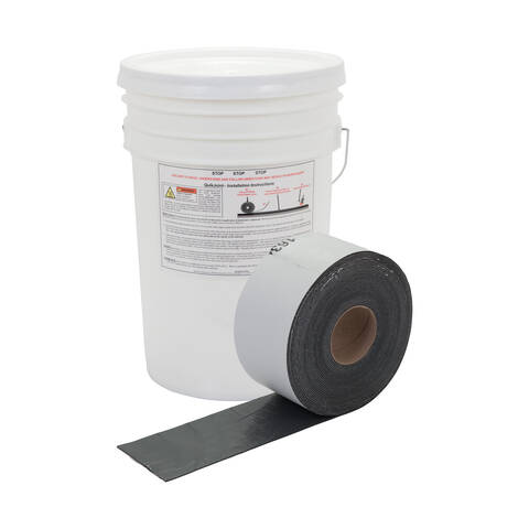"image: Roll of 4"" QuikJoint Asphalt Crack Tape in front of bucket"
