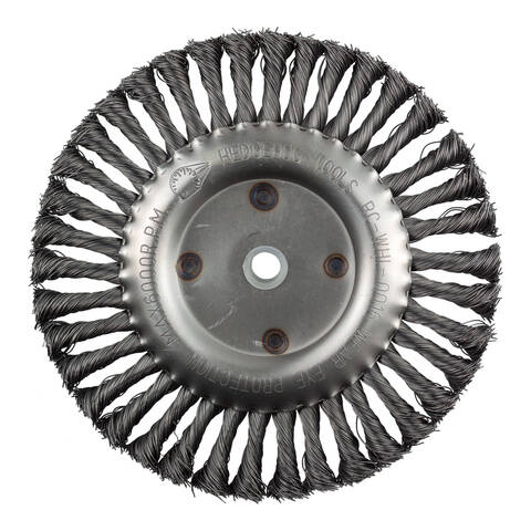"Overview image of the HedgeHog Tools 8"" Wire Wheel"