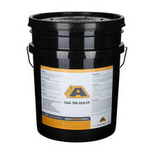 Overview of a 5 gallon bucket of BIG A Coal Tar Sealer