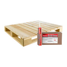 Pallet view of the Crafco self-leveling concrete joint sealer