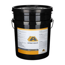 Overview showing a 5 Gallon pail of BIGA asphalt emulsion driveway sealer
