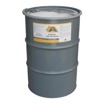 Overview image of a 55 gallon barrel of BIG A PitchGrip coal tar sealer