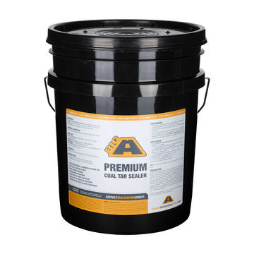 Overview of the BIG A 5 gallon bucket of Premium Coal Tar Sealer
