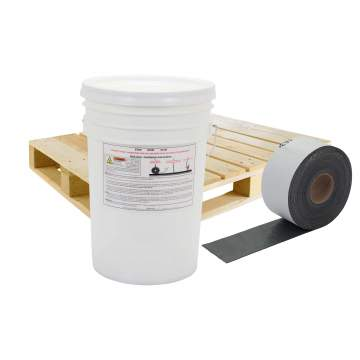 image of a pallet, bucket and 4 inch quikjoint crack tape