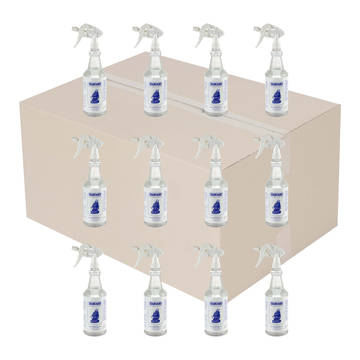 Overview image of a case of 12 asphalt remover 1 quart spray bottles