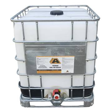 Overview image of a 275 gallon IBC tote of BIGA Premium Coal Tar Sealer