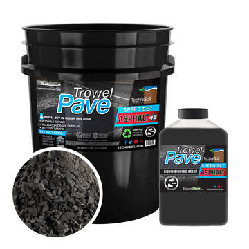 Overview of the 5 gallon 45 lb bucket of TrowelPave asphalt leveler patch showing the bucket, binder and aggregate size