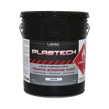 image of a 5 gallon bucket of plastec solvent based cold thermoplastic paint
