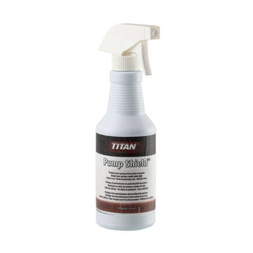 Front image of the 12 ounce spray bottle of Titan Pump Shield