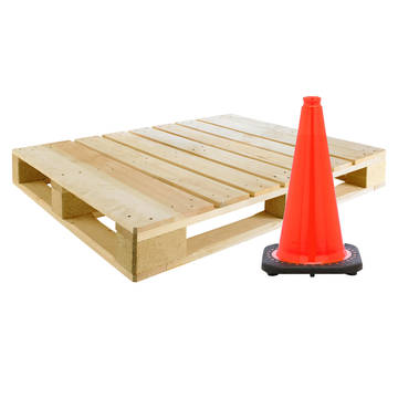 "Pallet view of the no-collar JBC 18"" 3lb construction cone"