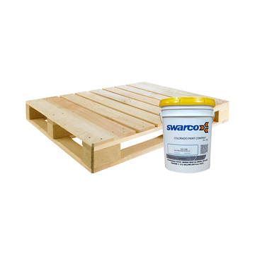 Overview of a pallet with a single bucket of Swarco paint, representing a pallet quantity of paint