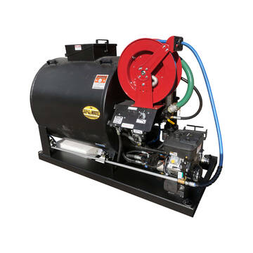Right overview image of the Sealmate 350 gallon piston pump skid