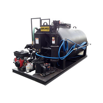 Left side overview of the Sealmate 500 gallon skid sprayer