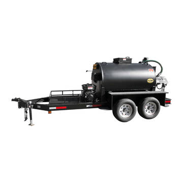 Left overview image of the Sealmate 700 gallon piston pump trailer