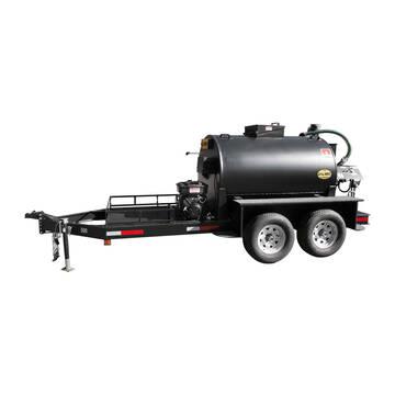 Left overview image of the Sealmate 700 gallon piston pump trailer