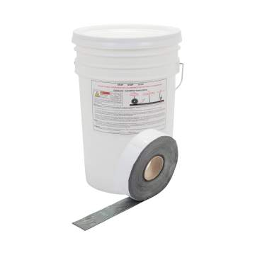 "image: Roll of 2"" QuikJoint Asphalt Crack Tape in front of bucket"