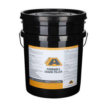 Overview of a 5 Gallon bucket of BIGA cold applied rubberized crackfiller