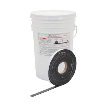 "image: Roll of 1"" QuikJoint Asphalt Crack Tape in front of bucket"